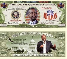 Ben Carson for President 2016 Million Dollar Bill