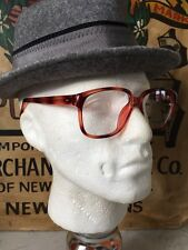 Mens Vintage 1970s Demi- Amber Tortoiseshell Glasses Frames Eyewear 56-20 -145