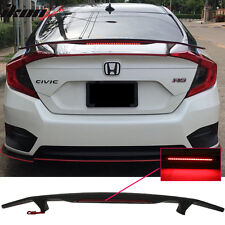 Universal Fit Matte Black Trunk Spoiler Wing & 3RD Brake LED Light - ABS