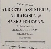 Vintage 1900 ALBERTA ASSINIBOIA ATHABASCA SASKATCHEWAN Map Old Antique Original