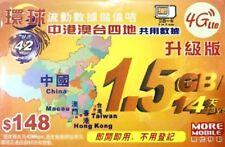 China Hong Kong Macau Taiwan 4G 14 Days 1.5GB Data Sim Card * FREE POSTAGE *