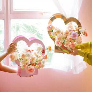 Kraft Paper Bag Heart Shape Flower Box Bag Waterproof Bouquet Florist Supply