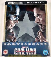 CAPTAIN AMERICA CIVIL WAR New STEELBOOK UHD 4K Ultra HD + Blu-ray 2016 MCU Movie