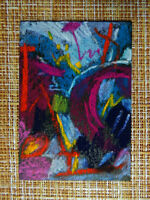 ACEO original pastel painting outsider folk art brut #010323 abstract surreal