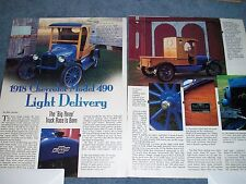 1918 Chevrolet Model 490 Light Delievery Pickup Truck History Info Article