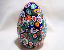 Vtg Venetian Millefiori Art Glass Egg Paperweight Murano Italy Orig Tag 417hDZ