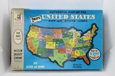 Milton Bradley Authentic Map of the United States Cut On State Lines 2 Maps 1961