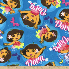 Dora The Explorer Dancing on Blue 100% Cotton fabric by the yard