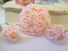 Vintage PINK  Lucite / Plastic Flower Dome Brooch Pin MATCHING EARRINGS, -289