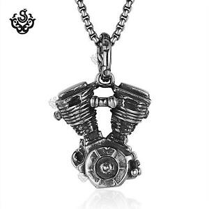 Bike Motor engine pendant necklace silver stainless steel bikies chain