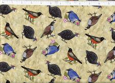 julia cairns ~ BIRDS OF A FEATHER ~ blue bunting quail grouse robin bird fabric