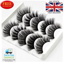 5Pair 3D Mink False Eyelashes Wispy Cross Long Thick Soft Fake Eye Lashes UK P&P