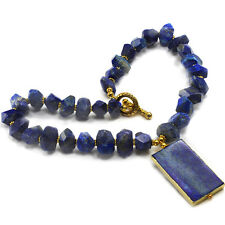 Lovely Natural Blue Lapis Lazuli Necklace w/Large Pendant & Gold Tone Toggle 19""
