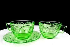 """FEDERAL DEPRESSION GLASS ROSEMARY VASELINE GREEN 3 PC 2.5"""" CUPS & SAUCER 1935-3"""