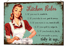 Kitchen Rules Quote Metal Sign Wall Art Home Decor Tin Plaque