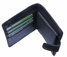 Mens Black Real Leather Wallet Genuine Soft Leather Bi-Fold Wallet