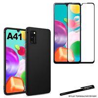 Coque protection Noir + Verre trempé bords noir pour Samsung Galaxy A41