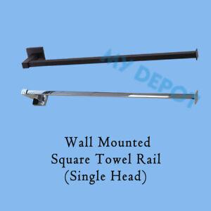 Wall Mounted Towel Rack Square Single Rail Stainless Steel Chrome Black Bathroom