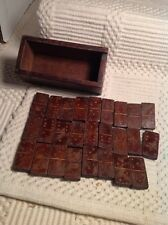 Antique Vintage Wood Wooden Dominoes Dominos And Box