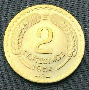 1964 S Chile 2 Centesimos Coin BU      High Grade Coin        #K839