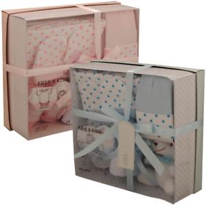 New Kris X Kids Baby Shower Gift Hamper Set Box 7pcs Pink Blue Lemon White 0-3m