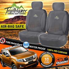 Cotton CANVAS HD Front Car Seat Covers Suit's Nissan Navara NP300 18oz Charcaol