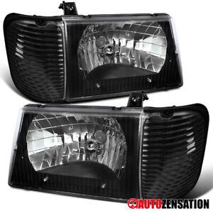 For 1992-2006 Ford E150 E250 E350 Econoline Black Headlights+Corner Signal Lamps