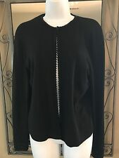 Talbots Black sbeaded sweater sS.  Open front with hook closure