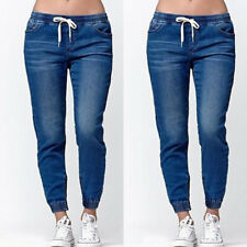 US Women's Casual Denim Jogger Pants Ladies Drawstring Elastic Waist Jeans Solid