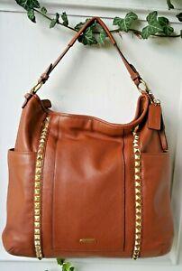 Coach XL Leather PARK Hobo Shoulder Bag Brass Pyramid Studs Lk Nw