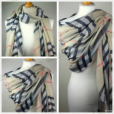 T002 BEIGE Plaid Check Scarf with Tassle Wrap Shawl Evening Cover-Up Xmas Gift