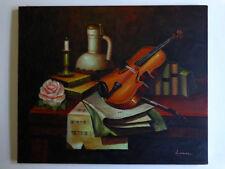 Still Life vintage Table Oil Painting Original Signed Artist Master Quality Art