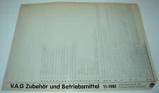 Microfich Audi / VW V.A.G VAG Zubehör und Betriebsmittel Stand November 1981!