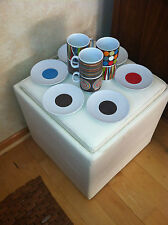 Caribou Coffee Stackable Mugs And Saucers Groovy Mid Century Look 12 Pieces