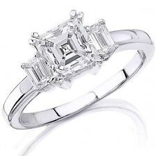 2.60 Ct. 3 Stone Asscher Cut Diamond Ring 14K Gold H color Flawless EGL USA