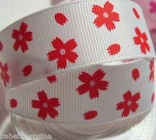 RUBAN Gros grain imprimé - FLEUR rouge fond Blanc ** 22 mm ** vendu au mètre