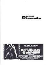 Die Frau mit der 45er Magnum Ms. 45 Presseheft press book Ferrara, Zoë Lund