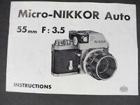 Nikon Micro-Nikkor Auto 55mm f/3.5 Non Ai 1964 Camera Lens Instruction