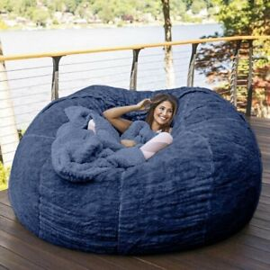 7ft Giant Fur Bean Bag Cover Living Room Big Round Soft Luxury Portable Bed Sofa