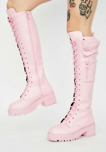 NIB DOLLS KILL Sugar Thrillz BUBBLEGUM OBSIDIAN POCKET COMBAT BOOTS Pink - sz 7