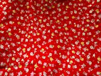"""Vintage Fabric by Peter Pan, Red w/Flowers in Pink/Yellow/White 60"""" W By 3 yards"""