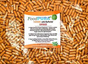 Turmeric and Bioperine Capsules 600mg Tumeric Curcumin 10, 60, 90,180, 365 Vegan