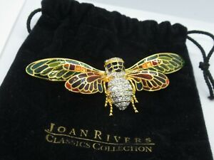 Joan Rivers Insect Brooch Pin Jewelry HUGE Locust Bee (565G)