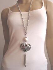 Modekette Bettelkette Damen Hals Kette lang Lagenlook Silber Weiss Herz Perle