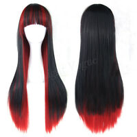Fashion Women Lady Straight Black Mixed Red Hair 's Long Cosplay Party Full Wig
