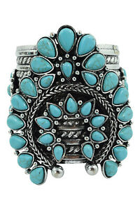 Bohemian Faux Blue Turquoise Squash Blossom Chunky Cuff Bracelet