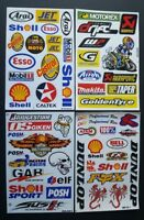 FOUR (4) SINGLE SHEETS OF BMX MOTO-X MOTOR SPORT RALLY RACING STICKERS:- PACK B