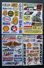 Cuatro (4) Hojas única de BMX Moto X deporte del motor Rally Racing Pegatinas: - Pack B