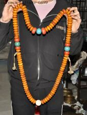 "32""Tibet Buddhism Beeswax turquoise coral shell Pendant Exorcism amulet necklace"