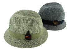 100% Harris Tweed Trilby Hat With Moleskin Band - Charcoal & Green Herringbone